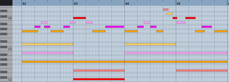 pianoroll : harmonisation à l'aide des accords primaires