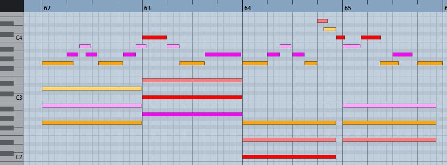 pianoroll : harmonisation à l'aide des accords secondaires