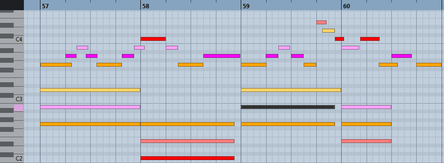 pianoroll : harmonisation ultra simple en sol majeur