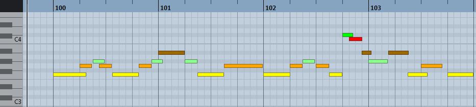pianoroll : mélodie en fa mineur sur Nuendo