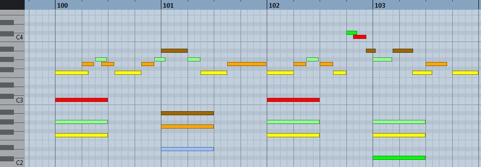 pianoroll : harmonisation en fa mineur