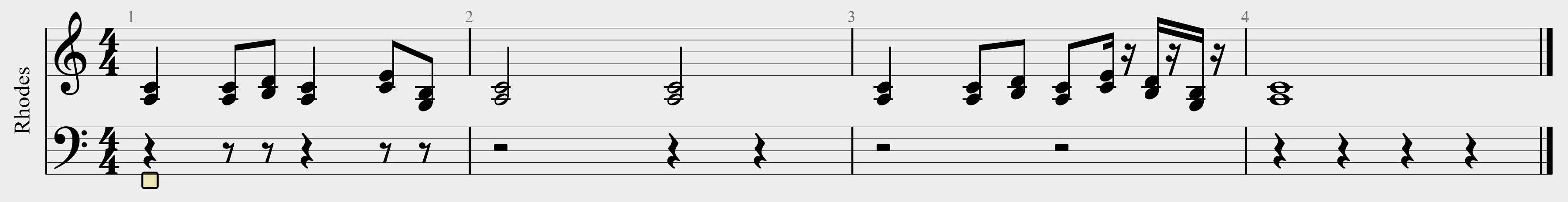 partition d'un petit motif au piano életrique
